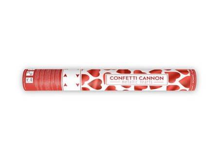 Tuba konfetti serca - czerwone - 40 cm