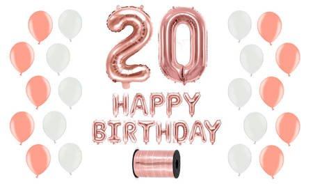 Zestaw Balonów na 20 urodziny - różowe złoto z białymi akcentami
